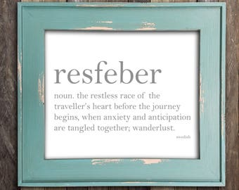 Resfeber - Restless Traveler - Dictionary Art Print Word Definition Typography, Unique Home Decor, Wanderlust, Travel Gift, Quote, Swedish