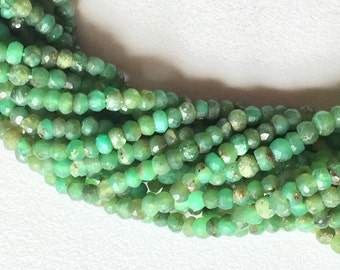 Chrysoprase - Chrysoprase Faceted Rondelles, Shaded Green Chrysoprase Stone, Chrysoprase Necklace, 4mm, 13 Inch Strand, Wholesale