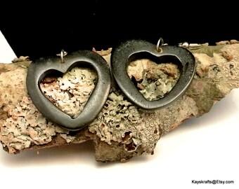 Vintage Black Heart Dangle Earrings Jet Black Earrings Black Lucite Earrings Ebony Earrings Black Dangles French Hooks Valentine