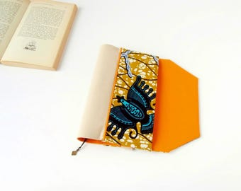 Protects-pocketbook adjustable fabric with bookmark (African fabric / jaune_bleu_orange)