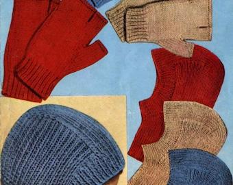 Vintage Balaclava Helmet and Fingerless Mitts, Knitting Pattern, 1960 (PDF) Pattern, Bestway 3046