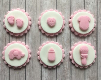 12 Edible Handmade Baby girl Disc Cupcake Toppers Baby shower , christening, New baby Decorations