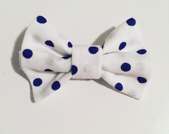 Navy blue white cotton bow clip