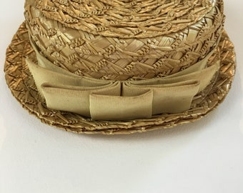 Vintage 1930s Straw Boater Hat - 30s Childs straw hat - Kids Summer Hat - Small -