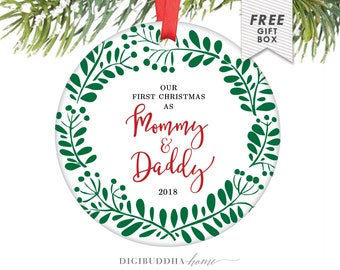 First Christmas as Mommy and Daddy Ornament New Baby Ornament New Parents Ornament 2018 Ornament Mommy Ornament Mom and Dad - Copper