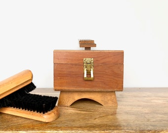 Vintage Shoe Shine Kit | Wooden Box and Brushes | Vintage Collectible, Decor