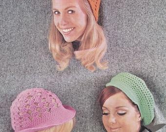PDF crochet hat pattern cap crochet plus crocheted hat hats pdf INSTANT download pattern only pdf 1960s women's ladies