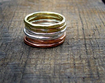 Mixed Metal Hammered Stacking Rings - Set of 2 Brass - 2 Copper - 2 Sterling Silver