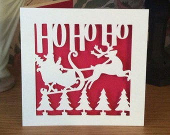 Papercut Father Christmas Card