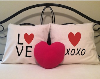 Love Pillow Covers, Set of Two with FREE Heart Pillow, XOXO, Hugs and Kisses, Bride, Wedding, Anniversary, Valentine, Couples, Newlyweds