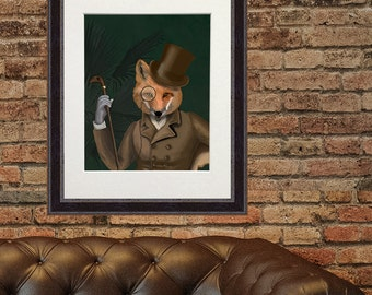 Fox Art - The Bounder After Dark fox print woodland animal woodland art country home décor Country house Living room décor fox illustration