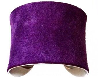 Purple Suede Silver Cuff Bracelet, Bangle Bracelet - by UNEARTHED