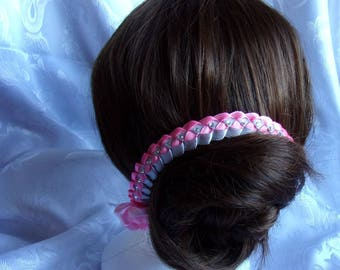 Bridal headband in pink and gray sash with Rhinestone/wedding/bridal/flower kanzashi tiara comb