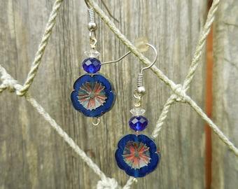 Cobalt Blue Flower Silver Beaded Dangle Earrings