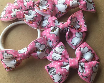 Moomin pink hair bow clips/hair ties - sold individually and now as a set of 3!