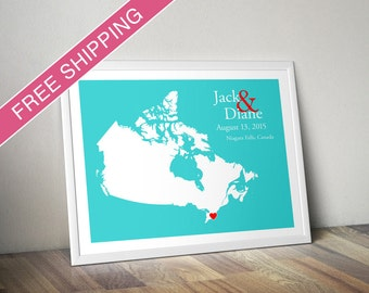 Custom Wedding Gift : Personalized Wedding Location and Country Map Print - Canada - Engagement Gift, Wedding Guest Book