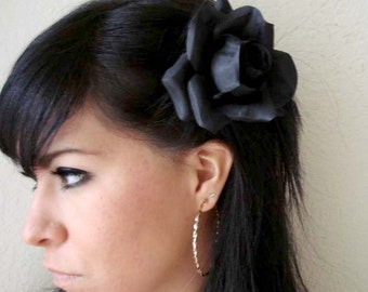 flower hair clip - black rose flower hair clip - bohemian hair accessory - bridal flower accessory - floral hair clip - black rose - AALIYAH