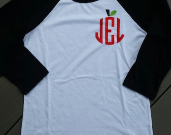 Monogrammed Apple Teacher Shirt - 3/4 Length sleeves - Personalized
