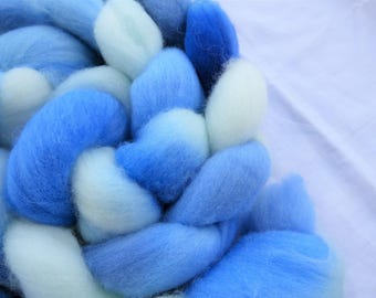 Blue Polwarth - Hand Dyed Wool Roving (Top) - 100g