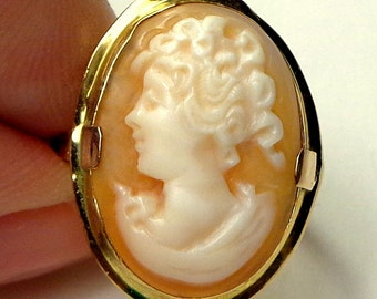 Size 6.5,  10k Solid Gold Ring, Vintage Cameo Ring, Hand Carved, Yellow Gold, Carved Conch Shell Cameo, 'As Is' SEE PHOTOS