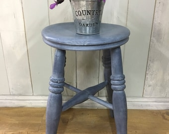 Vintage stool, kitchen stool, painted stool, wooden stool, wood stool, vintage wood stool, violet furniture, Chalk Paint