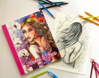 "Colouring book ""Flowers and gems"" in high quality paper, + one original drawing  + dedication, + inedited and exlusive colouring page"