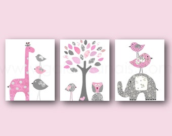 Baby Girl nursery Decor Elphant Nursery art Giraffe Nursery wall art Kids wall Art Pink gray Nursery tree Birds owl - Set of three prints