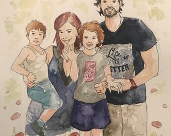 Family Portrait, Custom Watercolor, Custom Portrait, Painting from Photo, Portrait, Watercolor Painting, Custom Art