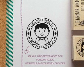 Personalized Kids Label Rubber Stamp, Personalized Stamp for Children - Choose Hairstyle and Accessories