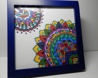 Original Artwork, 5 by 5 Framed, Doodle, Drawing, Original Framed Drawing