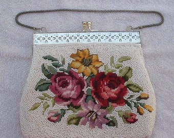Vintage 1960s White Beaded Evening Bag - Purse with Floral Needlepoint Design - Beaded Purse