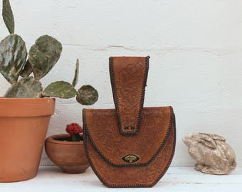 Vintage Tooled Leather Saddle Bag