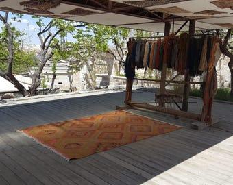 Anatolian Handmade Kilim 100% Wool 73'' x 106'' Handwoven Decorative Kilim Rug