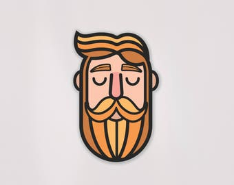 Ginger Beard Decal | FREE US Shipping | Hipster | Beards | Weatherproof | Vinyl Decal | Mustache | Sticker