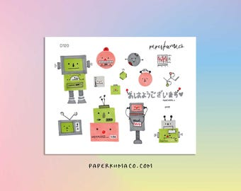 robot aesthetic decorative stickers for bullet journals and planners - D120