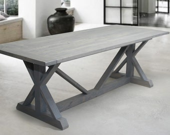 Wood Dining Table, Wood Furniture, Traditional Wood Dining Table, Kitchen Table, Loft Wood Dining Table, Reclaimed Wood Table, Trestle Table