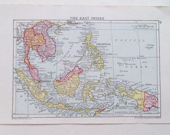 East Indies Antique map by George Philip dated c1910 13cm x 20cm