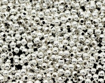 200 - 2mm Silver Plated Beads