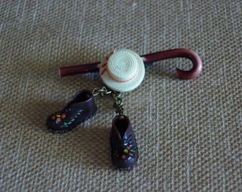 Dancing Shoes Straw Hat and Cane Pin