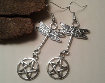 Dragon Fly Pentacle drop earrings