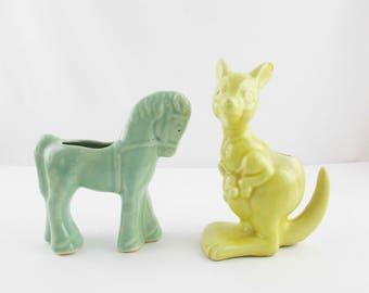 Yellow Kangaroo - Planter or Vase - Stuff With Cotton Balls or Q-Tips - Planter - Display - Collect
