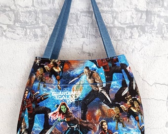 Guardians of the Galaxy Handmade Tote - Marvel Tote Bag - Handmade Shoulder Bag - Handcrafted Purse - Superhero Handbag Tote - Geek Girl Bag