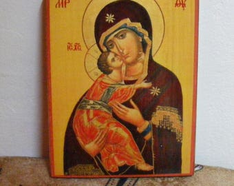 "Theotokos , orthodox icon,  icon hand painted of hot colors directly on solid wood 18x24x2 см ( 7.0""x 9.6""x0.8"" )!"