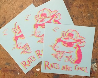 6-PACK Rats Are Cool 3x3 Vinyl Sticker