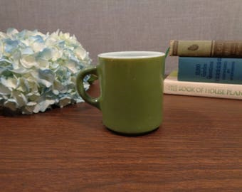 Retro Green Milk Glass Coffee Mug