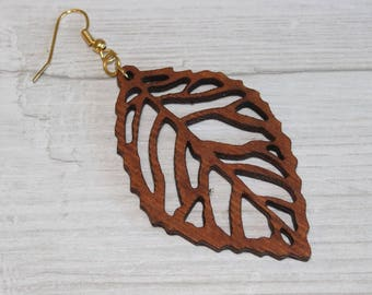Leaf Wooden Earrings hand made from Hard wood