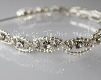 Bridal Vintage Crystal Headband Tiara Clear Seed Beaded Silver Plated Wedding Hair Accessory