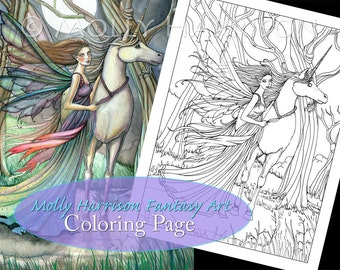 Free Printable Coloring Pages For Adults Unicorns : Etsy :: your place to buy and sell all things handmade