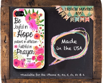 Religious Quote iPhone Case, Christian iPhone Case, Scripture iPhone Case, Floral iPhone Case, iPhone X, iPhone 8, 8 Plus, iPhone 7, 7 Plus