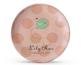Personalized Plate, Little Bird Pink Polka Dot Children's Melamine Cake Plate